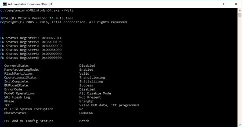 Выключаем Intel ME 11, используя недокументированный режим - 5