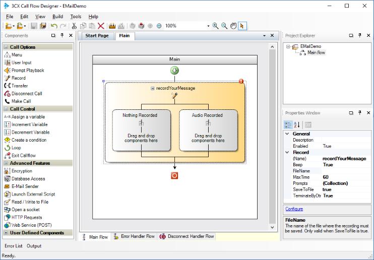 Отправка e-mail сообщения в среде разработки 3CX Call Flow Designer - 2