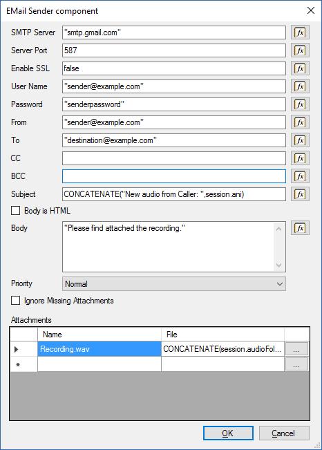 Отправка e-mail сообщения в среде разработки 3CX Call Flow Designer - 4