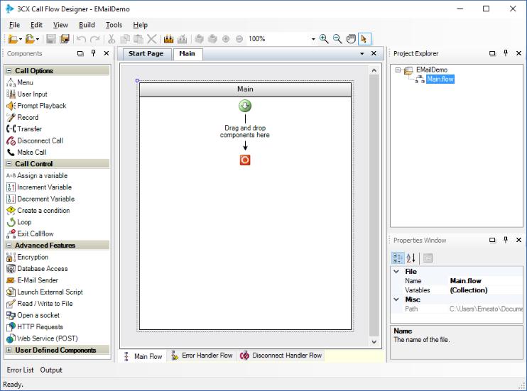 Отправка e-mail сообщения в среде разработки 3CX Call Flow Designer - 1