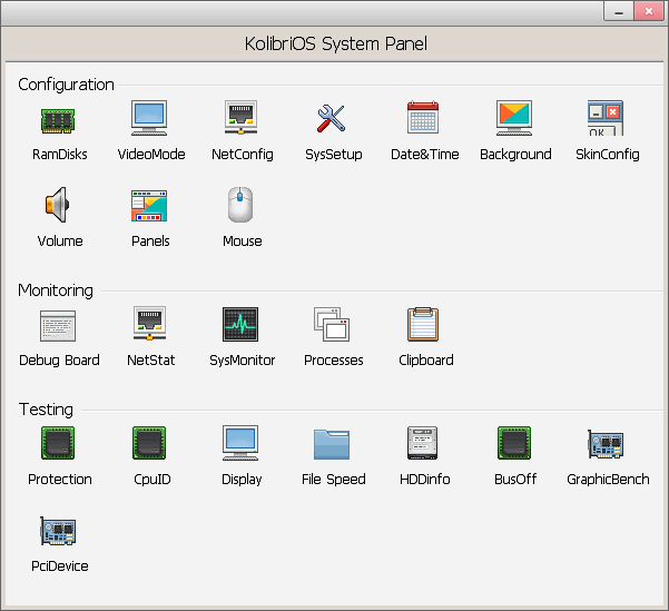 System panel