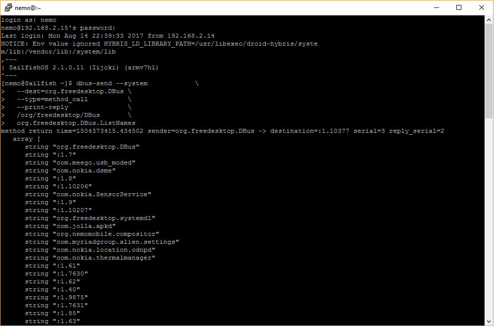 Использование системных функций D-Bus в Sailfish OS - 1