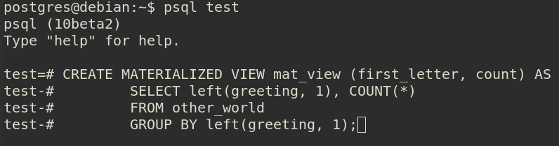 PostgreSQL: материализованные представления и FDW - 1