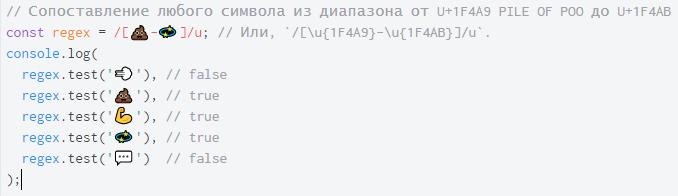 ECMAScript 6. Регулярные выражения с поддержкой Unicode - 8