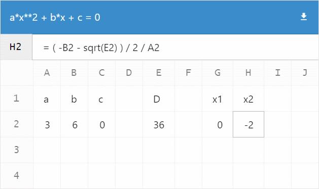 a*x**2 + b*x + c=0
