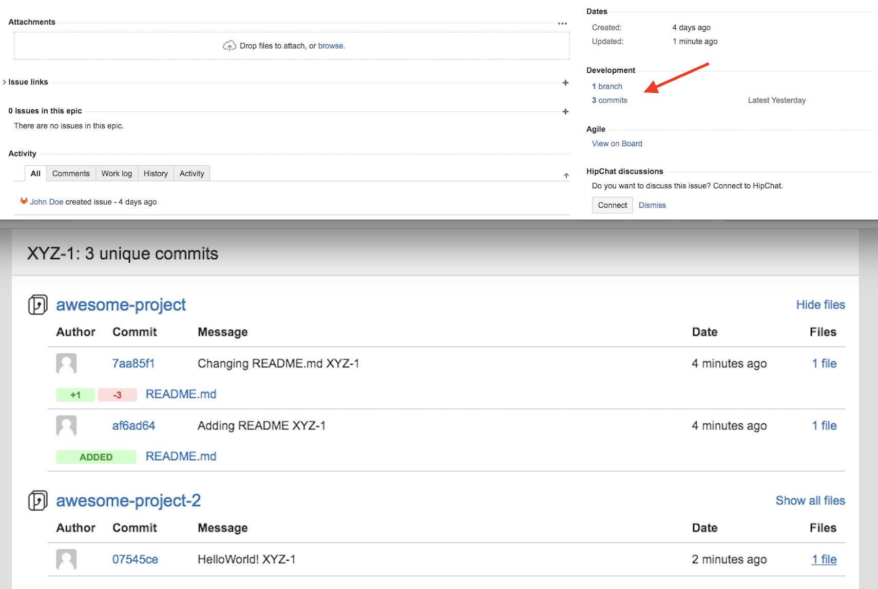 Access GitLab Commits and Branches in JIRA Development Panel