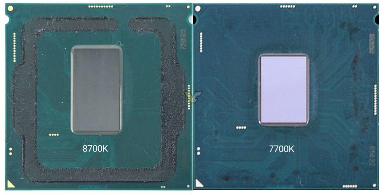 Площадь кристалла Intel Core i7-8700K больше площади кристалла Intel Core i7-7700K