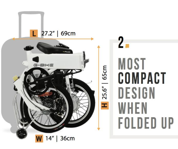 Электрический велосипед G-Bike в сложенном состоянии по размерам похож на чемодан на колесах