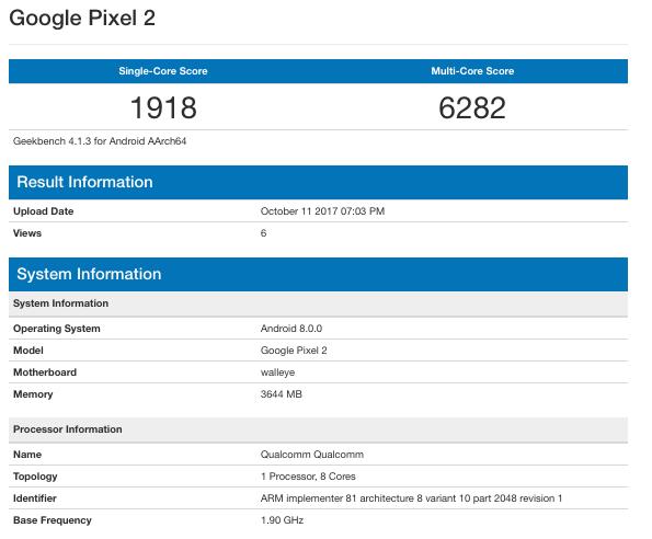 Производительность Google Pixel 2 и Pixel 2 XL оценили в ПО Geekbench
