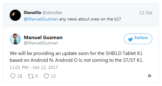 Планшеты Nvidia Shield и Shield K1 не получат обновление Android Oreo