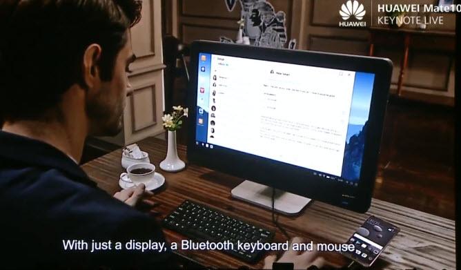 Huawei Mate 10 подключается к дисплею без док-станции