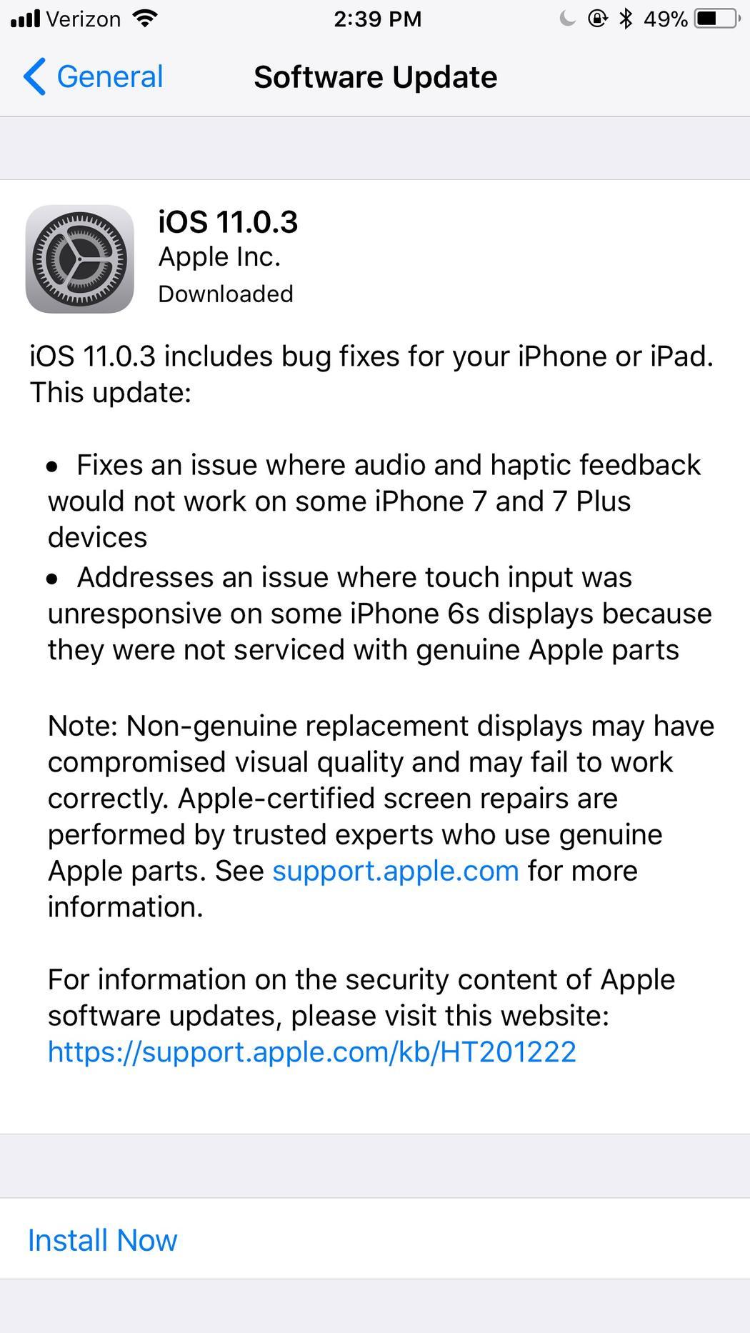 Апдейт iOS 11.0.3 показал, что Apple может отключать свои телефоны с неоригинальным дисплеем - 2