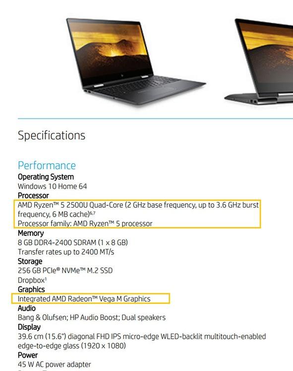 APU AMD Ryzen 5 2500U засветился в описании ноутбука HP Envy x360 15-bq101na