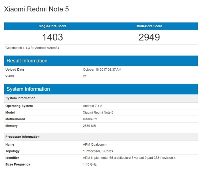 Xiaomi Redmi Note 5 появился в базе Geekbench