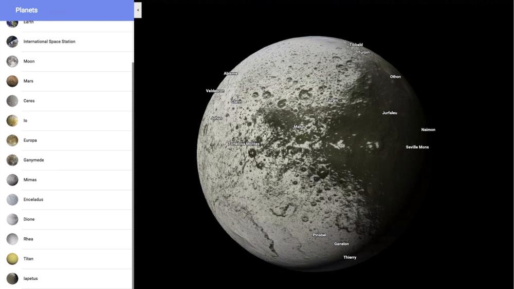 В Google Maps появились карты планет и спутников Солнечной системы - 1