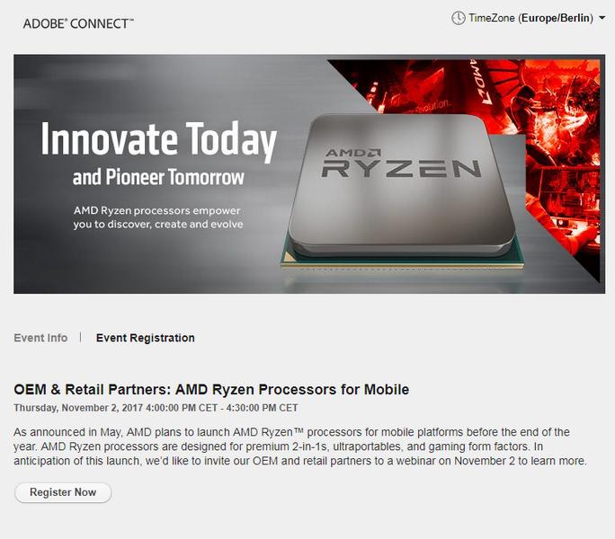 Новые подробности о мобильных APU Ryzen могут появиться 2 ноября