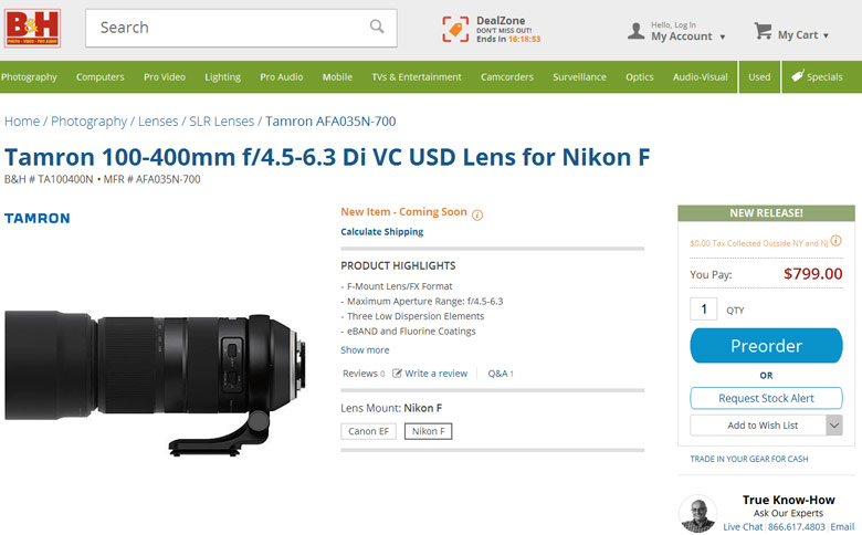 Объектив Tamron 100-400mm f/4.5-6.3 Di VC USD (Model A035) будет предложен в вариантах для камер Canon и Nikon