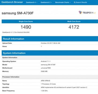 Смартфон Samsung Galaxy A7 (2018) с 6 ГБ ОЗУ замечен в Geekbench