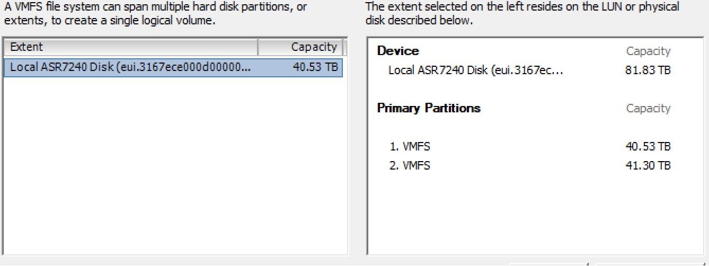 Как создать несколько VMFS датасторов на одном дисковом устройстве - 2