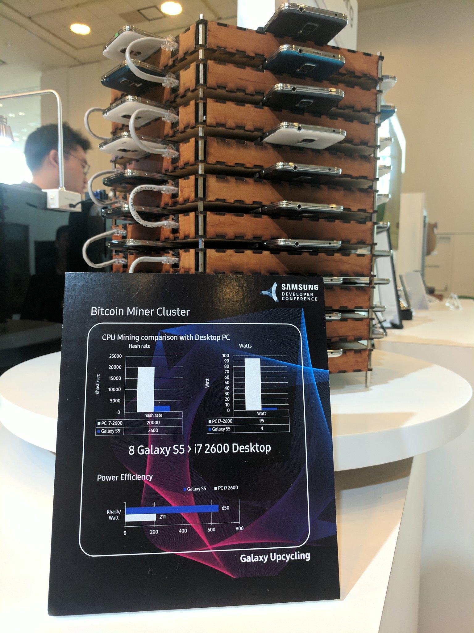 Samsung показал ферму для майнинга биткоинов, состоящую из 40 старых Galaxy S5s - 2
