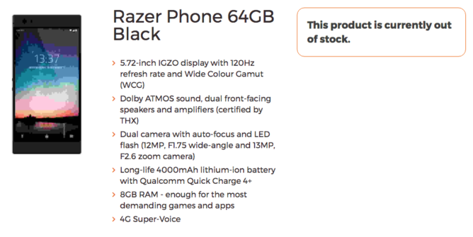 Смартфон Razer Phone оснастят двойной камерой с телеобъективом