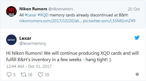 Карты памяти XQD производства Lexar исчезли из ассортимента магазина B&H, но это временное явление