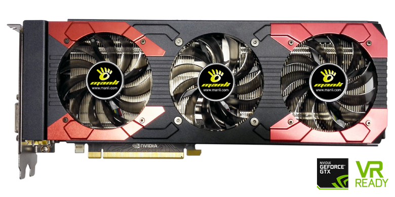 Видеокарта Manli GeForce GTX 1070Ti with Triple Cooler имеет длину более 300 мм