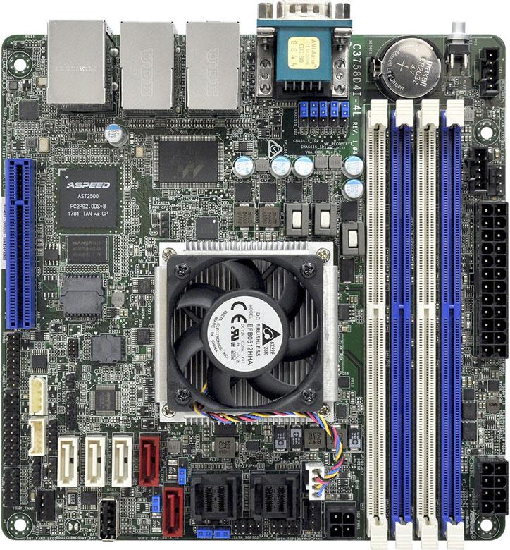 Системная плата ASRock C3758D4I-4L оснащена 13 портами SATA 6 Гбит с и пятью портами Gigabit Ethernet - 2