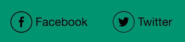 Иконки Facebook и Twitter с текстовыми описаниями.