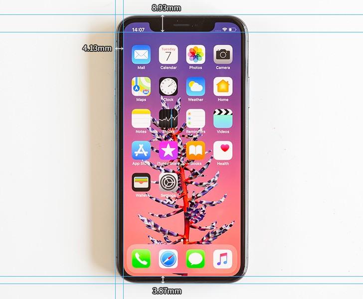 iPhone X уступает по ширине боковых и верхней рамок дисплея смартфонами LG V30 и Xiaomi Mi Mix 2