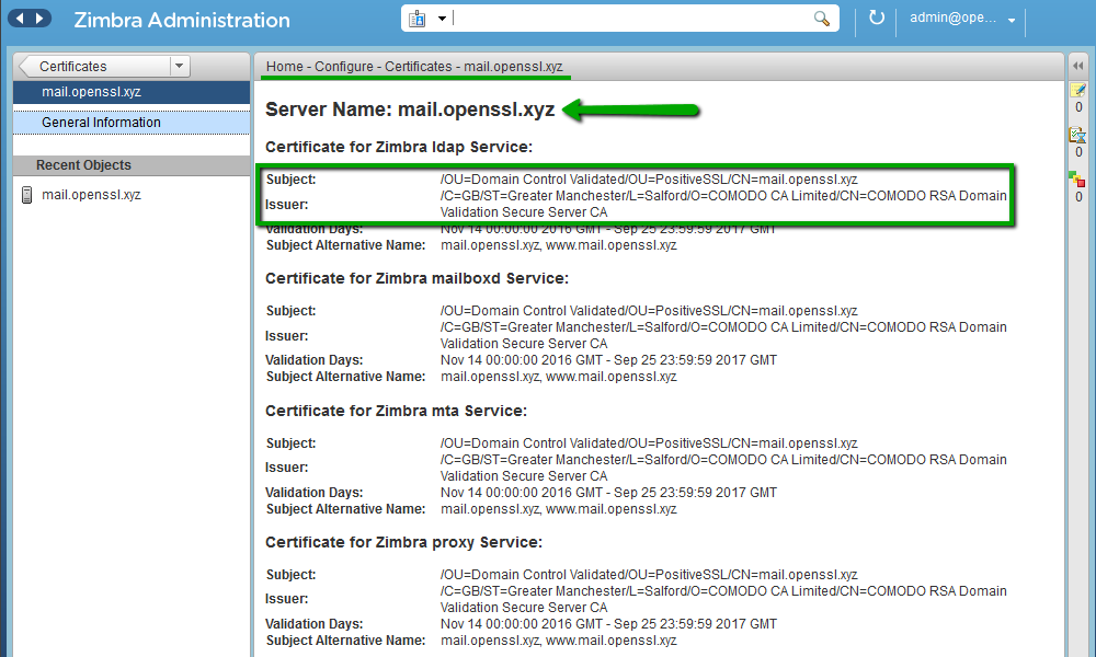 Установка SSL-сертификата на Zimbra - 11