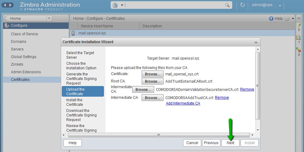 Установка SSL-сертификата на Zimbra - 7