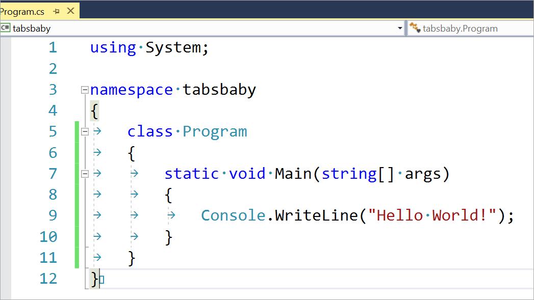 Знаки табуляции или пробелы: решаем с помощью Visual Studio - 4