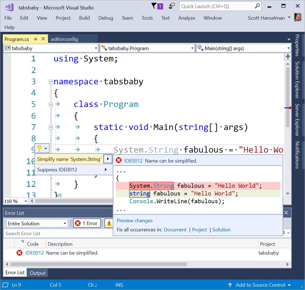 Знаки табуляции или пробелы: решаем с помощью Visual Studio - 5