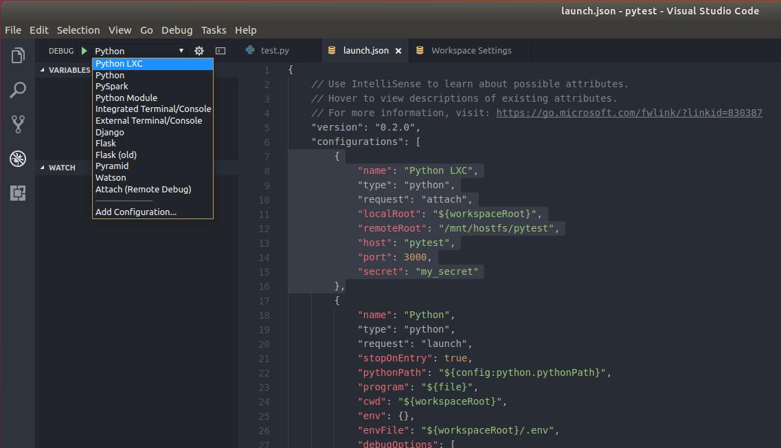 Запуск-отладка Python скриптов в контейнерах LXC-LXD из под VS Code - 6