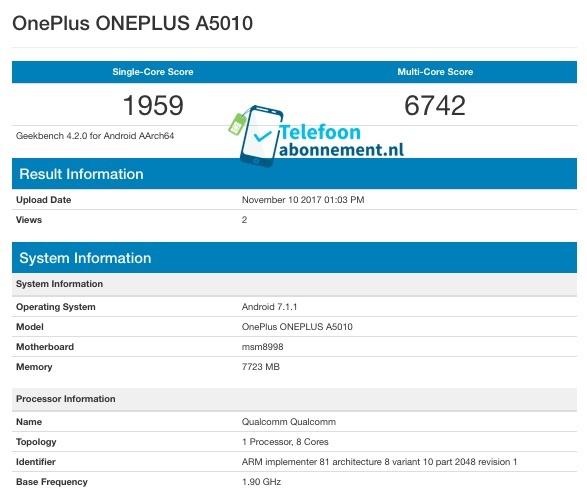 Смартфон OnePlus 5T с 8 ГБ ОЗУ протестирован в Geekbench