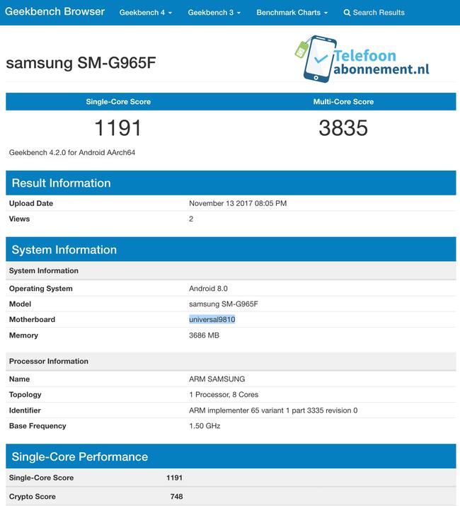 Смартфон Samsung Galaxy S9+, оснащенный SoC Exynos 9810 и 4 ГБ ОЗУ, замечен в Geekbench