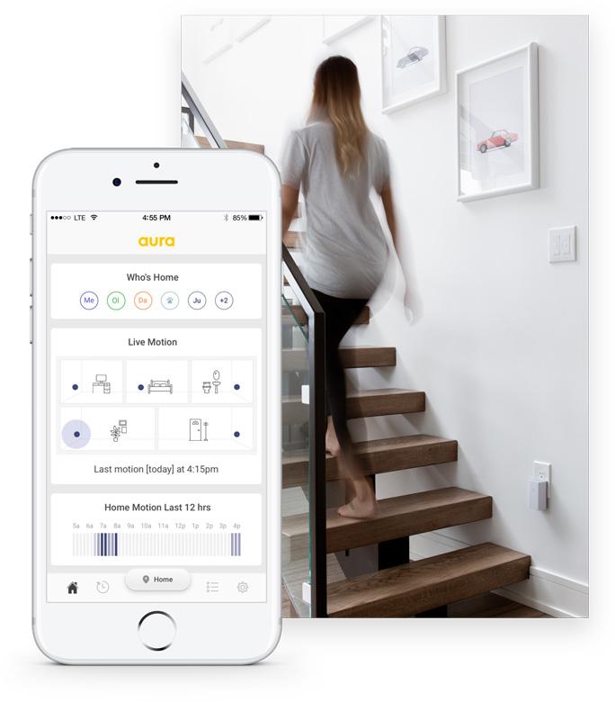Aura обнаруживает движение в комнатах, не используя камеры или датчики движения