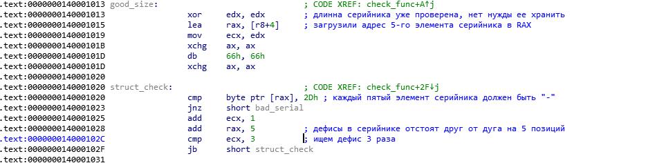 Подробный разбор решения crackme01_x64 - 8