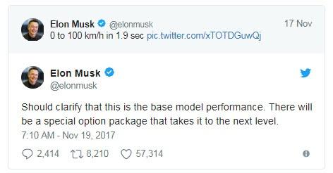 «Заряженная» версия нового Tesla Roadster будет еще более динамичной