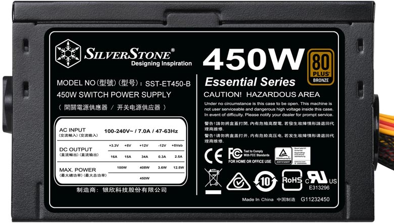 Мощность блока питания SilverStone Essential SST-ET450-B равна 450 Вт