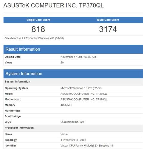 В Geekbench замечен ноутбук-трансформер Asus TP370QL на платформе ARM и под управлением Windows 10
