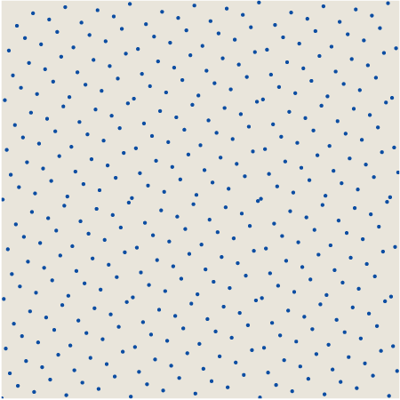 394 dots scattered over a square by the Vandercorput algorithm