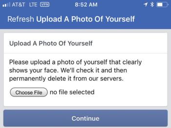 Новая разновидность капчи Facebook: загрузите фотографию, где видно ваше лицо - 1