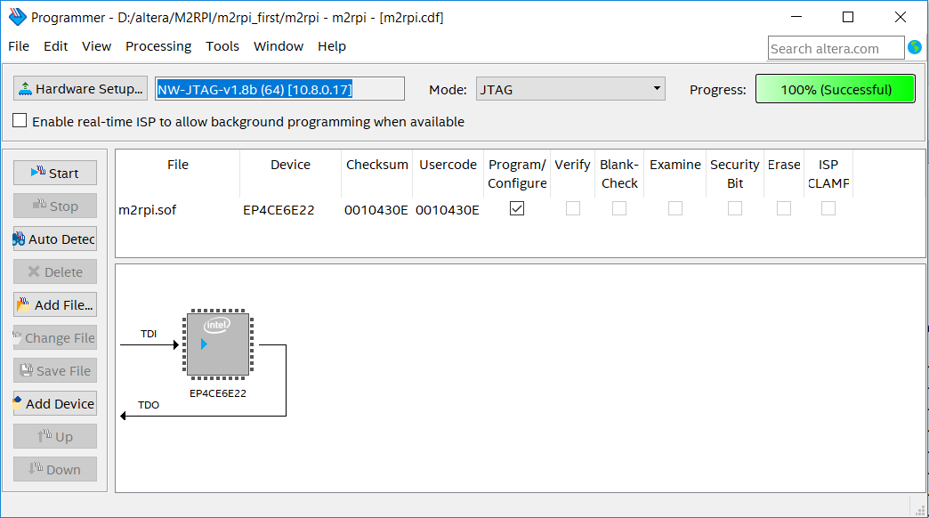 Сетевой JTAG программатор для Altera Quartus Prime из Raspberry Pi3 - 3
