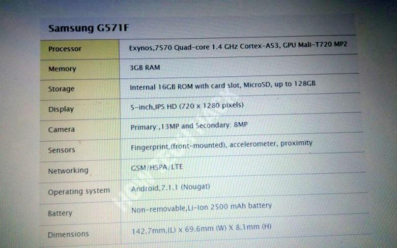 Основой устройства служит SoC Exynos 7570