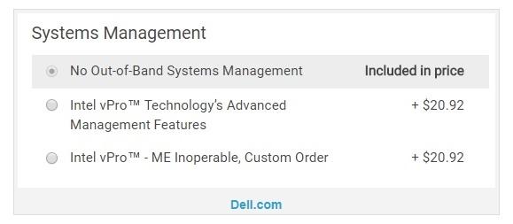 Dell в трёх своих ноутбуках предлагает опцию отключения Intel Management Engine