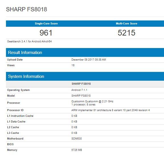 Смартфон Sharp FS8018 протестирован в Geekbench