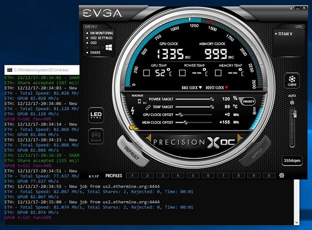 Nvidia Titan V ставит рекорды в майнинге