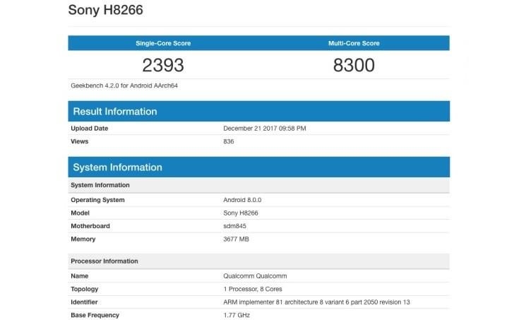 Geekbench подтверждает наличие SoC Snapdragon 845 в новом смартфоне Sony Xperia